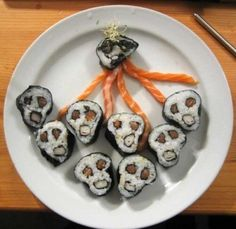 They look like little sushi versions of The Scream by Edvard Munch. Definitely want to try my hand at rolling these!