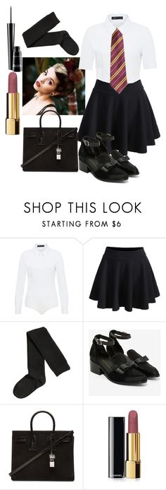 """""""Elizabeth Green Uniform"""" by some-harry-potter-freak on Polyvore featuring Hallhuber, H&M, Intentionally Blank, Yves Saint Laurent, Chanel and MAC Cosmetics"""