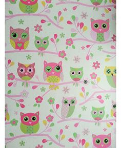 Decorate your child's bedroom with this stunning Owls Wallpaper. The pretty design features colourful patterned owls in pink, green and yellow perched on floral branches on a pale cream background with pink polka dots.