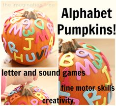 Alphabet Pumpkins and 5 Playful Literacy Games! - The Imagination Tree -- Encourage children to make their name on their pumpkin and then they can also have lots of other alphabet fun! Identifies own first name in print among two to three other names Preschool Literacy, Preschool Lessons, Literacy Activities, Activities For Kids, Kindergarten, Homeschooling Resources, Preschool Letters, Literacy Skills, Early Literacy