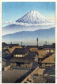 Morning at Motoyoshiwara by Kawase Hasui, 1940 (published by Watanabe Shozaburo) Japanese Art Prints, Japanese Drawings, Japanese Artwork, Japanese Painting, Japanese Illustration, Illustration Art, Illustrations, Japanese Landscape, Landscape Art