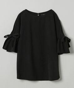 JEANASIS(ジーナシス)の「リボンラッフルプルオーバーSS/752231(Tシャツ/カットソー)」|ブラック