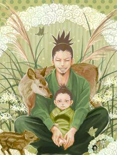"shikaku and shikamaru - father and son #naruto .... Even as a baby shikamaru has the look that says ""what a drag"" ... Lol"