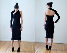 Black One-Shoulder Pencil Dress / Midi Dress / marcellamoda Signature Design This will probably be the next dress I buy.