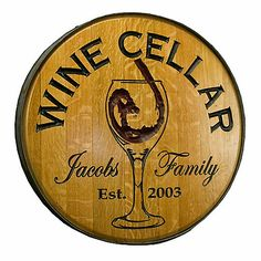 Personalized Reclaimed Wine Barrel Head with Wine Cellar and Wine Glass at Wine Enthusiast - $349.00