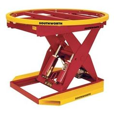 Automatic Pallet Level Loader, 2000 lb by Southworth. $5642.85. Automatic Spring Actuated Pallet Level Loader, Load Capacity 2000 lb., Lowered Height 8-11/16 In., Raised Height 32-11/16 In., Material Carbon Steel, Color Red, Finish Enamel, Includes 43-5/8 In. Dia. Turntable