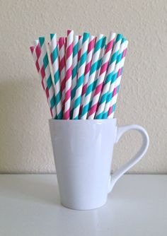 25 Dark Pink and Teal / Turquoise and White Striped Paper Party Straws and DIY Printable Drink Flags / Wedding / Birthday / Baby Shower on Etsy, $3.60