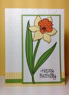 Year of Flowers: Daffodil: PTI, paper piecing, spring, by beesmom - Cards and Paper Crafts at Splitcoaststampers