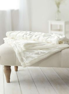 Ivory Shiny Fur Throw