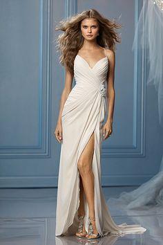 862ccf9d53e53 Reception Dress - Wtoo Brides Caprina Gown Spaghetti strap v– neck  Criss-cross tie back Front slit Puddle-length train. Perfect Wedding Dress  Finder