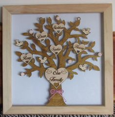FAMILY TREE Personalised Wooden 30cm Keepsake Wood Wall Hanging Box Frame Gift