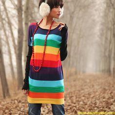 Liebo 2012 New Rainbow Strip Knitted Dress