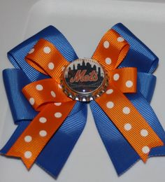 Mets Mets bow Mets hair bow MLB Mets fans Mets gifts by bowsforme, $7.00
