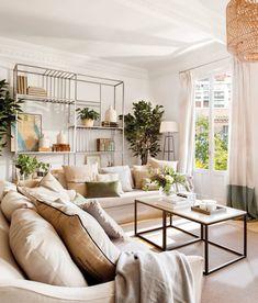 """salon-de-verano-con-techos-moldura-y-estantería-hierro 498878. En blanco y con dos sofás en """"L"""" Small Living Rooms, Living Area, House Tours, Sweet Home, Gallery Wall, Design Inspiration, Couch, Dining, Bedroom"""