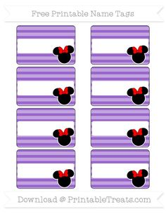 Free Amethyst Horizontal Striped  Minnie Mouse Name Tags
