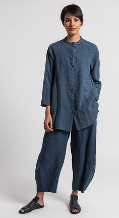 Oska Linen Pinstripe Tove Pants in Denim  Available at Oska Camberwell