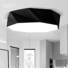 Creative géométrique art chambre lumière moderne salon DIY led plafond lampe restaurant lampe noir/blanc