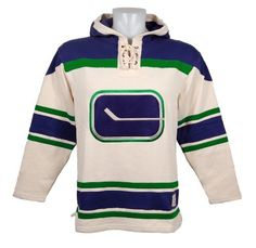 Vancouver Canucks Vintage Heavyweight Lace Hoodie (Stick Logo) Size L by Old Time. $120.00. The Vintage Lace Hoodie by Old Time Hockey features: - 80% cotton, 20% polyester heavy enzyme washed fleece - Laced front placket with thermal lined hood - Felt full color applique vintage logo - Cut and sew contrast sleeve striping