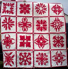 Wow! This is awesome! Red and white hand sewn Hawaiian quilt - $800.00