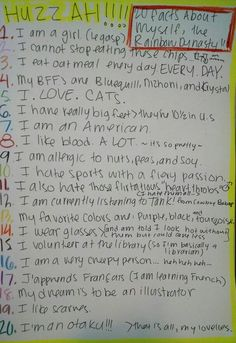 B) 20 facts about myself - (if anything is hard to read, tell me and I'll say it in the comments) ♥Rainbow Dynasty
