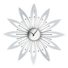 #Flower #Wall #Clock #Modern #Home #Decoration #Contemporary #Chrome #Silver #Living #Room