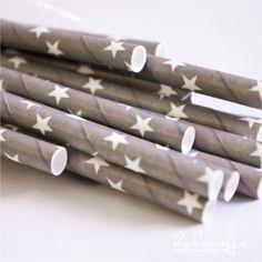 Paperstraw Grey / Papierstrohhalme Grau Star über www.kukuwaja.de