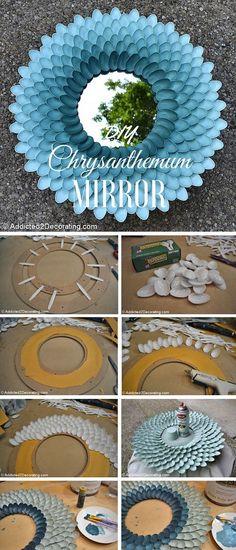 DIY Plastic Spoon Mirror Frame Instructions-DIY Decorative Mirror