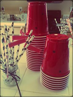 ladybug party cups, red solo cup with dot stickers
