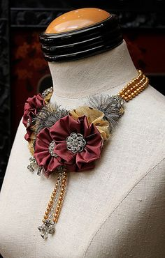 OLD ROSE Statement Necklace Mixed Media by carlafoxdesign on Etsy, $295.00