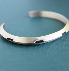 Mens Gear Cuff Sterling Silver Bracelet