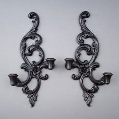 Black Vintage Wood Sconces