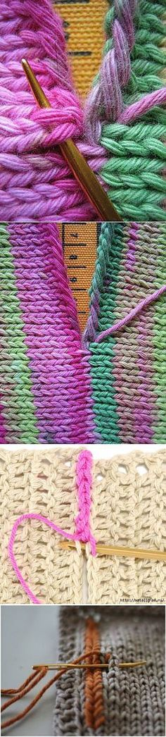 Points de suture et autres astuces de tricot. Швы и другие вязальные хитрости. Points de suture et autres astuces de tricot. Lace Knitting Patterns, Knitting Charts, Loom Knitting, Knitting Stitches, Knitting Needles, Baby Knitting, Stitch Patterns, Knitting Projects, Crochet Lace
