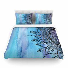 "Li Zamperini ""Blue Mandala"" Aqua Black Featherweight Duvet Cover - KESS InHouse  - 1"