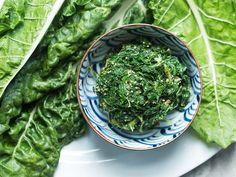 JAPANESE-STYLE SWISS CHARD AND SESAME SALAD Swiss Chard Salad, Rainbow Chard Recipes, Swiss Chard Recipes, Salad Recipes, Vegan Recipes, Cooking Recipes, Vegan Meals, Vegan Food, Gastronomia