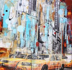 original painting pop art abstract painting new york acrylic painting from… New York Painting, City Painting, Painting & Drawing, Urban Landscape, Abstract Landscape, Abstract City, Nyc Art, Cityscapes, Urban Art