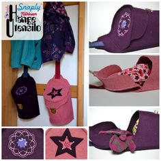 Schnabelinas world-Hat and mitten container for coat rack Sewing Patterns For Kids, Sewing For Kids, Baby Sewing, Fabric Boxes, Fabric Purses, Fabric Crafts, Sewing Crafts, Diy Rangement, Baby Accessoires