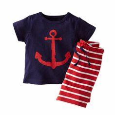 Kids Summer Clothes Sets Pirate Ship Cartoon Printed