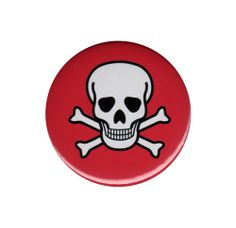 Skull And Crossbones Button Badge Pin Red White Novelty Punk Rock Goth Emo Cool