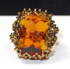Vintage Art DECO Amber Glass Ring Orange by SellitAgainVintage, $25.00