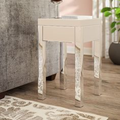 Found it at AllModern - Valentina Mirrored 1 Drawer End Table