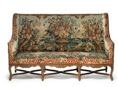 Mobilier de salon comprenant quatre fauteuils et un canapé, France, époque Louis XIV, vers 1710