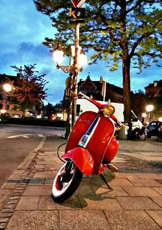 Classic Red Vespa Scooter