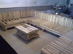 Pallet sectional and table not yet finished