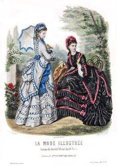 May n º Ash gray scarf skirt , garnished two biases that lead over a strip standing start and trimmed blue faille. Above these three motifs. 1870s Fashion, Edwardian Fashion, Vintage Fashion, Vintage Gowns, Mode Vintage, Vintage Outfits, Victorian Costume, Victorian Era, Historical Costume