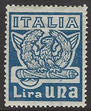 ITALY, 1923 1L blue Anniv. Fascist March on Rome, mint MLH, Sass#144