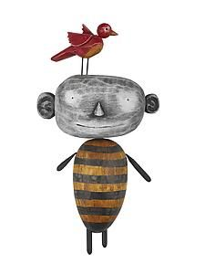 """MoonBeE with Bird""   by Bruce Chapin, made of wood, finished in acrylics."
