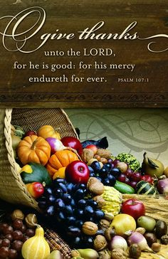 Psalm 107:1 (NKJV) - Oh, give thanks to the Lord, for He is good!For His mercy endures forever.  Happy Thanksgiving Everyone!