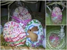 gebackenes Ostergeschenk mit Zuckerguss und Streusel. Das mögen Hasenkinder gern