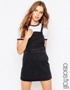 ASOS TALL Denim A-Line Pinafore Dress In Washed Black - Black