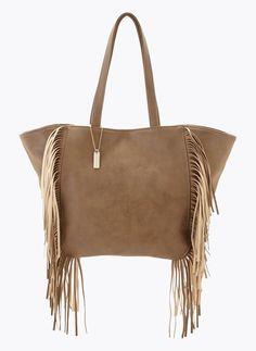 TOREBKA SHOPPER BAG FRĘDZLE BEŻOWA I BAG FRINGE BEIGE I  MONASHE.PL - Sklep online z modną odzieżą. Bluzki, sukienki, torebki, obuwie, akcesoria.